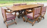 Large Oak Extending Dining Table & Six Matching Carver Armchairs